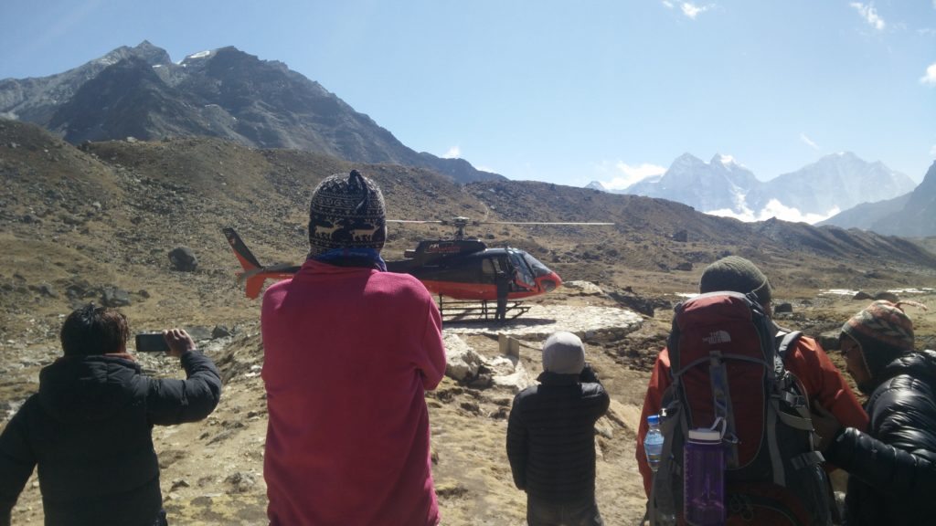 Emergency helicopter out of Lobuche